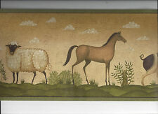 PRIMITIVE WALLPAPER BORDER SHEEP HORSE PIG COW COUNTRY FOLK ART ANIMAL FARM NEW