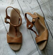 UGG Australia Cork Wedge Sandals Women's Size 9.5 Tan Leather Ankle Strap Shoes