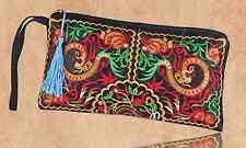 Ethno Clutch Handtasche schwarz bunt Baumwolle Damen Bohemian Vintage Style