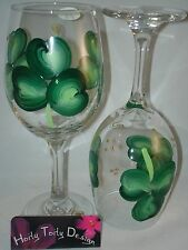 2 Hand-Painted St. Patrick's Day Shamrock Wine Glasses