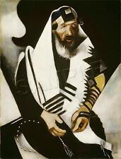 JEWISH JUDAICA RABBI PRAYING TALLIS PRAYER SHAWL CANVAS ART PRINT - LARGE 13X19
