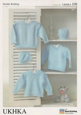 UKHKA Baby Sweater and Hat Double Knitting Pattern 108