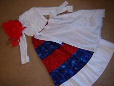 Prairie girl western Victorian r/w/b dress skirt apron hat S pioneer
