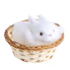 Hare Rabbits In Basket Furry Plush Toys Craft Collectible Gift For Children Kids