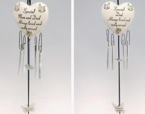 Graveside Memorial Stone Effect Resin Heart Windchime - Special Dad, Mum & Dad
