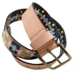 FREE PEOPLE High Summer EMBROIDERED Tan Buff LEATHER BELT Womens BNWT Pattern