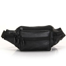 Black Leather Fanny Pack Men Waist Belt Bag Women CarryOn Purse Hip Pouch Travel