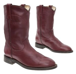 COWTOWN Cowboy Boots 7 M Womens Brown Leather Western Rodeo Roper Boots Biker