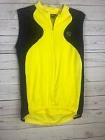 Pearl Izumi Men's Medium Yellow Black Sleeveless Cycling Jersey Back Pockets Zip