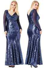 Goddiva Sequin Maxi Long Sleeve Formal Evening Dress Prom Party Ball Full Length