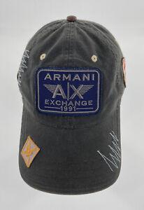 Rare Armani Exchange A X Sample Men's Hat Baseball Gray Logos Patches EUC