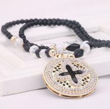 Damen Halskette Perlen Zirkonia Collier Anhänger Gold Kette lang Strass Luxus