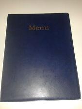 A4 MENU HOLDER/COVER/FOLDER IN BLUE LEATHER LOOK PVC
