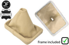 CREAM REAL LEATHER GEAR GAITER WITH PLASTIC FRAME FOR VW NEW BEETLE 1998-2011