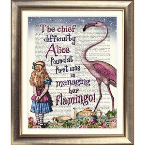 DICTIONARY PAGE ART PRINT VINTAGE ANTIQUE BOOK Alice in Wonderland FLAMINGO Bird