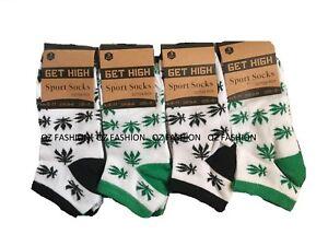 Men's Socks Trainer Ganja Weed Leaf Print Cannabis Cotton Rich socks Size 6-11