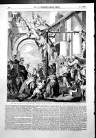 Old Print New Picture National Gallery Adoration Magi Paul Veronese 1856 19th