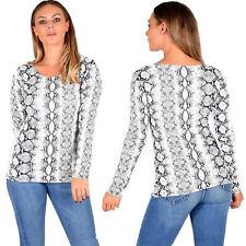 Women's Snake Print Top Ladies Long Sleeve Scoop Neck T-Shirt Tops Size 8-22