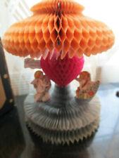 """Vtg Antique Lg Honeycomb Victorian German? 3D Valentine Heart Umbrella 8"""""""