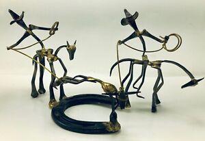 Vintage Western Metal Art Sculpture Cowboy Lasso Bull Horseshoe Nail Handmade