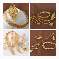 Lady's 18K Gold Filled Necklace Earring Bracelet Ear Rings Wedding Jewerly Set