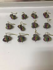 12  CHRISTMAS ORNAMENTS MADE WITH BLING PURPLE, GREEN AND GOLD MARDI GRAS COLORS