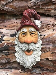 Santa Wood Carving Wizard Big Ooak Red Hat Elf Scott Longpre Originals #1