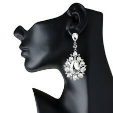 Drag Queen Big Crystal Chandelier Earrings Stage Pageant Bridal Costume Jewelry