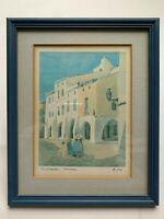 """ORIGINAL Vintage SIGNED WATERCOLOR BY A.Moll""""Cuitadella Menorca""""Original Fermado"""