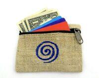 Hemp Coin Purse Blue Spiral Bag Pouch Credit Card ID Holder Vegan Wallet