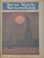 New York Newsday The Party's Over Closing the Statue of Liberty 1986 Newspaper