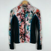 Running Bare Womens Jacket 8 Multicoloured Abstract Long Sleeve Fitted Zip