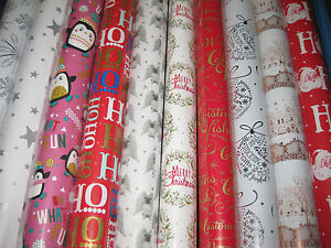 60 ROLLS GIFT WRAP CHRISTMAS WRAPPING PAPER PARTY METALIC 4-5-8-10 METRE ROLL