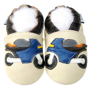Littleoneshoes Soft Sole Leather Baby Infant Children MotorcycleBeige Shoe 6-12M