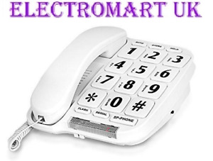 BIG BUTTON TELEPHONE PHONE 10 MEMORY HANDS FREE LNR DESK OR WALL MOUNT WHITE