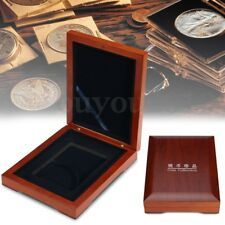Wooden Single Coin Display Storage Box Collectible Case For Coins Medals 59mm
