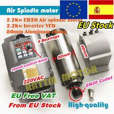 2.2KW VFD Inverter&2.2KW Air Cooled Spindle Motor ER20&80mm Clamp for CNC Router