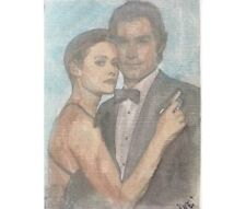 aceo original .paintings by Iné. JAMES BOND FILM actor Pierce Brosnan 2,5 x 3,5