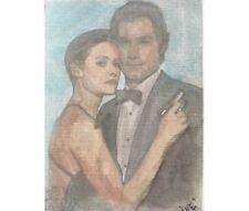 aceo original .paintings by Iné. JAMES BOND FILM actor Pierce Brosnan 2,5 x 3,5