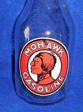 """"""" MOHAWK GASOLINE """" Indian MOTOR OIL GLASS POUR BOTTLE  w SPOUT 1 QT Fill Line"""