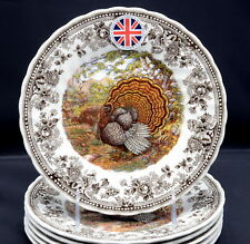 Queen's Majestic Beauty * 6 SALAD PLATES * Turkey, Thanksgiving, NEW/TAGS