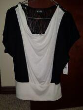 A. BYER Juniors Medium Black & White Lace Shirt