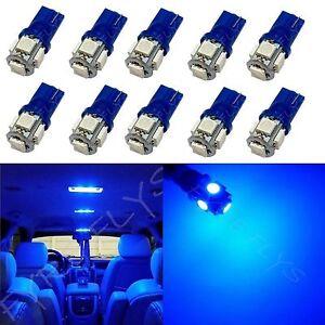 10x Blue T10 168 194 2825 W5W 5 SMD LED Dome Map Cargo 10xM2
