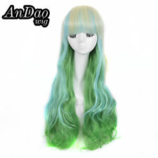 Mermaid Blunt Fringe Long Curly Wig Synthetic Hair Wigs White Blonde Green