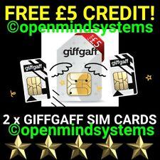 2 X Giffgaff - O2 SIM Cards UK £8 goodybag 2 GB Data  Unlimited Calls & Texts