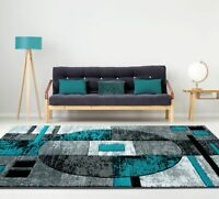 """5'3"""" x 7'6"""" Modern Area Rug Woven Olefin Geometric Abstract Gray Turquoise Blue"""