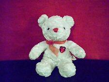 Dan Dee plush white Valentine Bear with Heart Gem