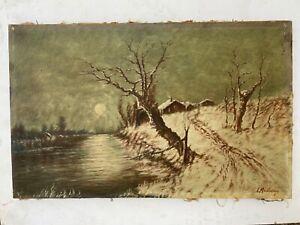 tableau fin XIX ème siècle Paysage de neige signé L MICHON huile sur toile