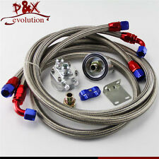 Oil Filter Relocation Sandwich Adapter+Staliness/Steel Braided AN10 Hose Kit SL