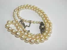 vintage CULTURED pearls necklace SILVER marcasites  clasp ~ genuine pearls
